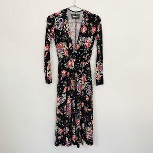 Reformation Jersey Floral Deep V Midi Dress